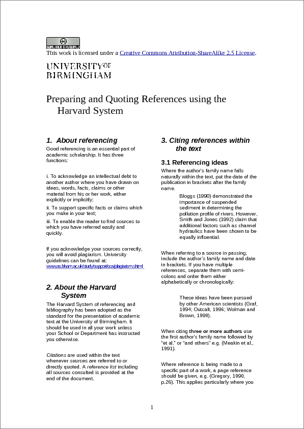 Harvard referencing system for essays